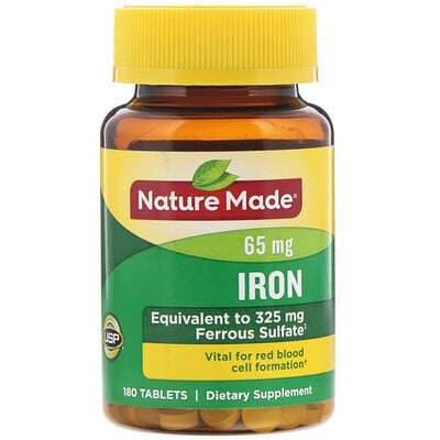 Nature Made Iron, 65 mg, 180 Tablets