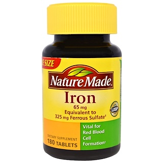 Nature Made, Iron, 65 mg, 180 Tablets