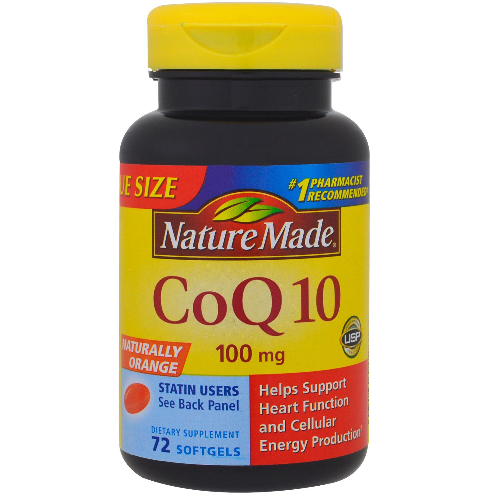 Nature Made, CoQ10, натуральный апельсин, 100 мг, 72 мягкие таблетки