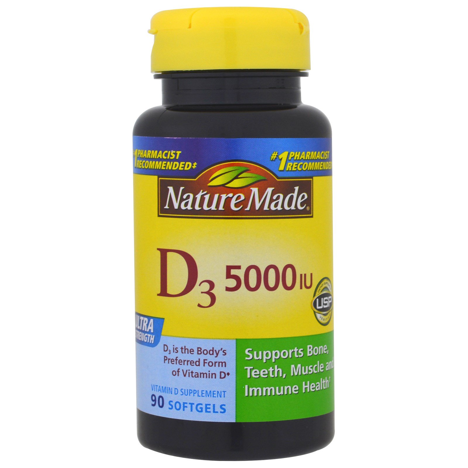 Nature Made, D3, Ультра сила, 5000 МЕ, 90 капсул