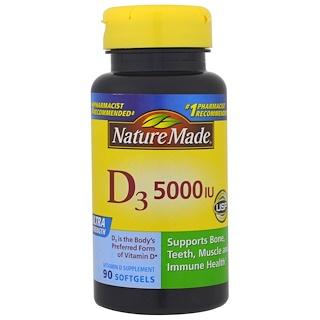 Nature Made, D3, Ultra Strength, 5000 IU, 90 Softgels