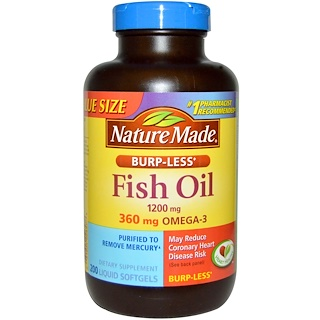 Nature Made, Fish Oil, Burp-Less, 1200 mg, 200 Liquid Softgels