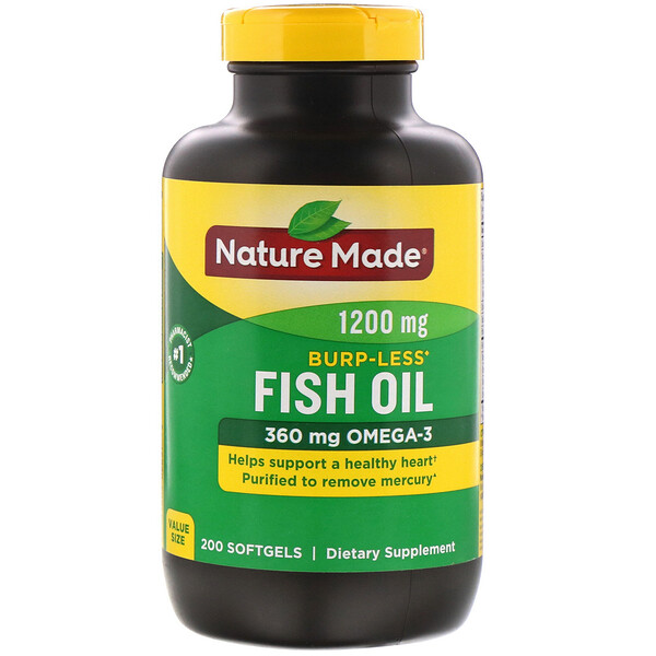 Nature Made, Fish Oil, Burp-Less, 1,200 mg, 200 Softgels