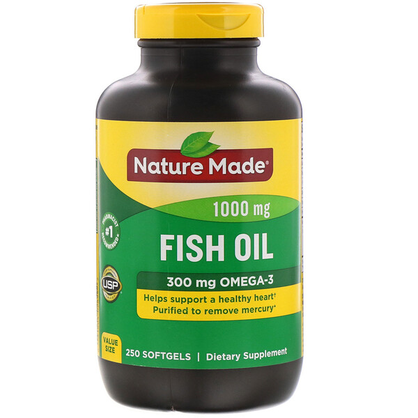 Nature Made, Fish Oil, 1,000 mg, 250 Softgels