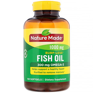 Натуре Маде, Fish Oil, Burp-Less, 1,000 mg, 150 Softgels отзывы покупателей