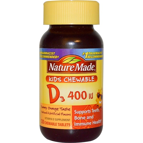 Nature Made, Kids Chewable D3, Orange, 400 IU, 120 Chewable Tabs (Discontinued Item)