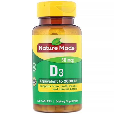 Nature Made Vitamin D3, 50 mcg, 100 Tablets