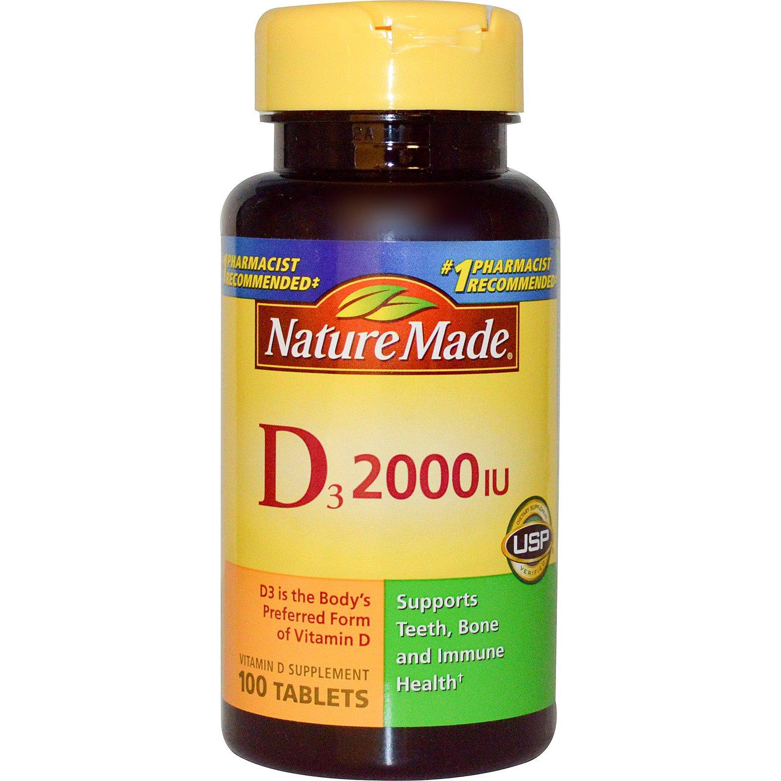 Nature Made, D3, пищевая добавка с витамином D, 2000 МЕ, 100 таблеток
