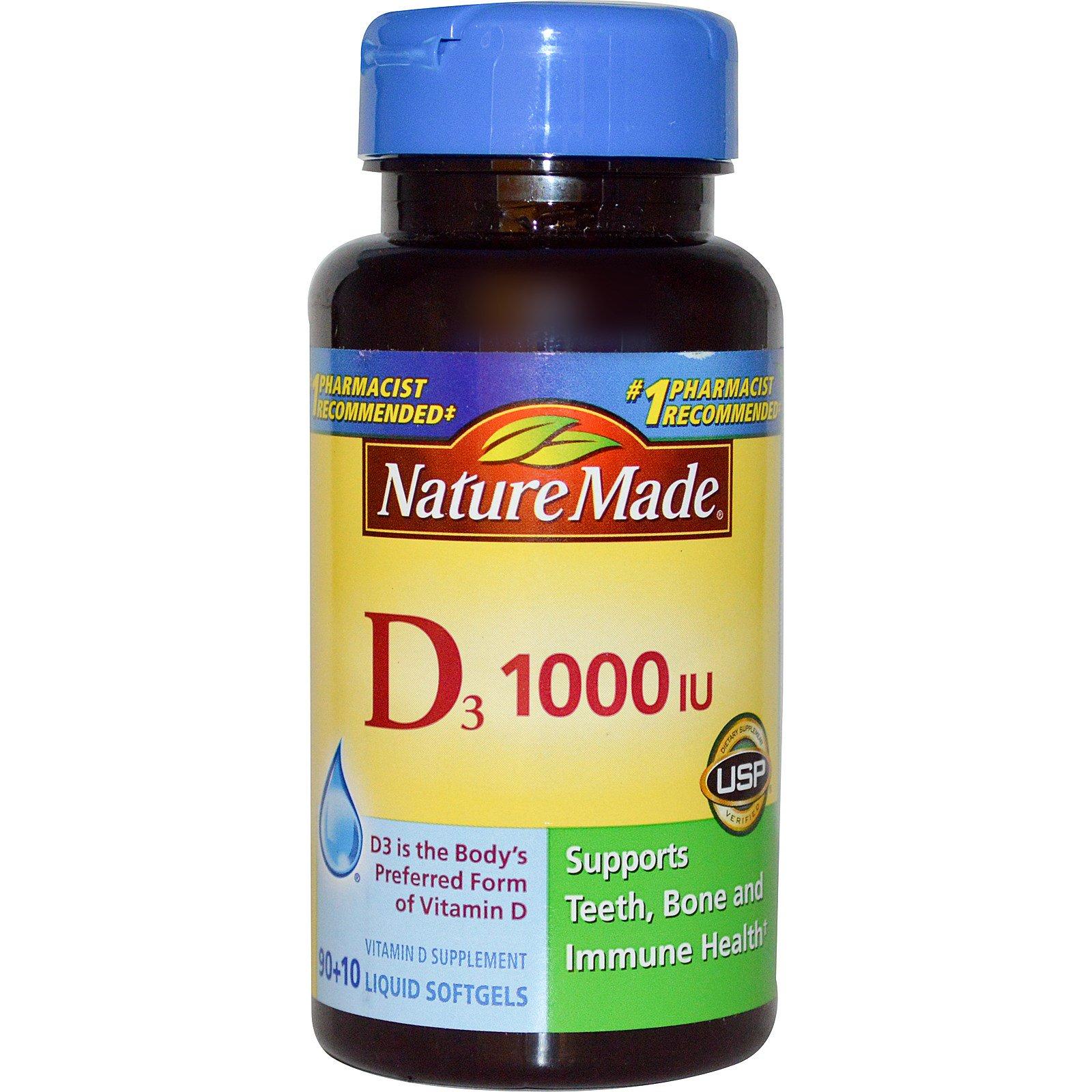 Nature Made, Витамин D3, 1000 МЕ, 90 + 10 мягких капсул с жидким содержимым