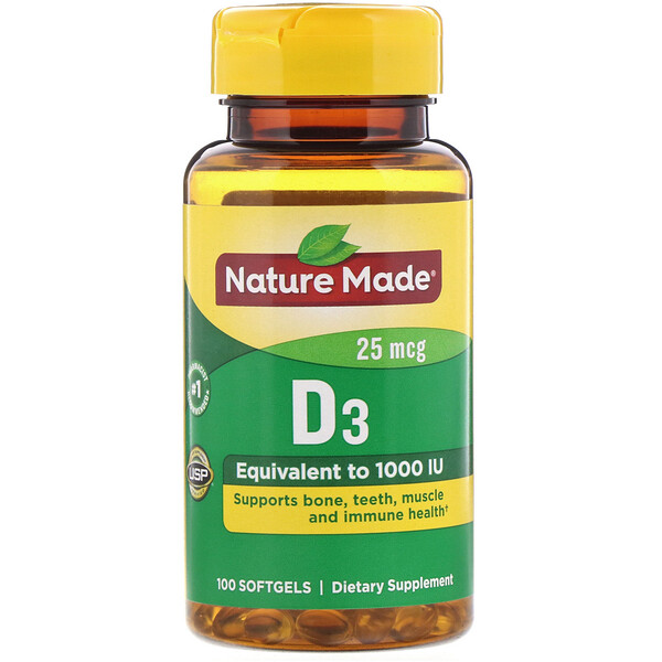 Nature Made, Vitamin D3, 25 mcg, 100 Softgels
