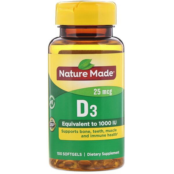 Vitamin D3, 25 mcg, 100 Softgels