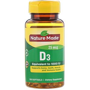 Натуре Маде, Vitamin D3, 25 mcg, 100 Softgels отзывы покупателей