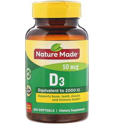D3, 2000 МЕ, 250 мягких желатиновых капсул витамин d3 5000 ме 250 желатиновых капсул