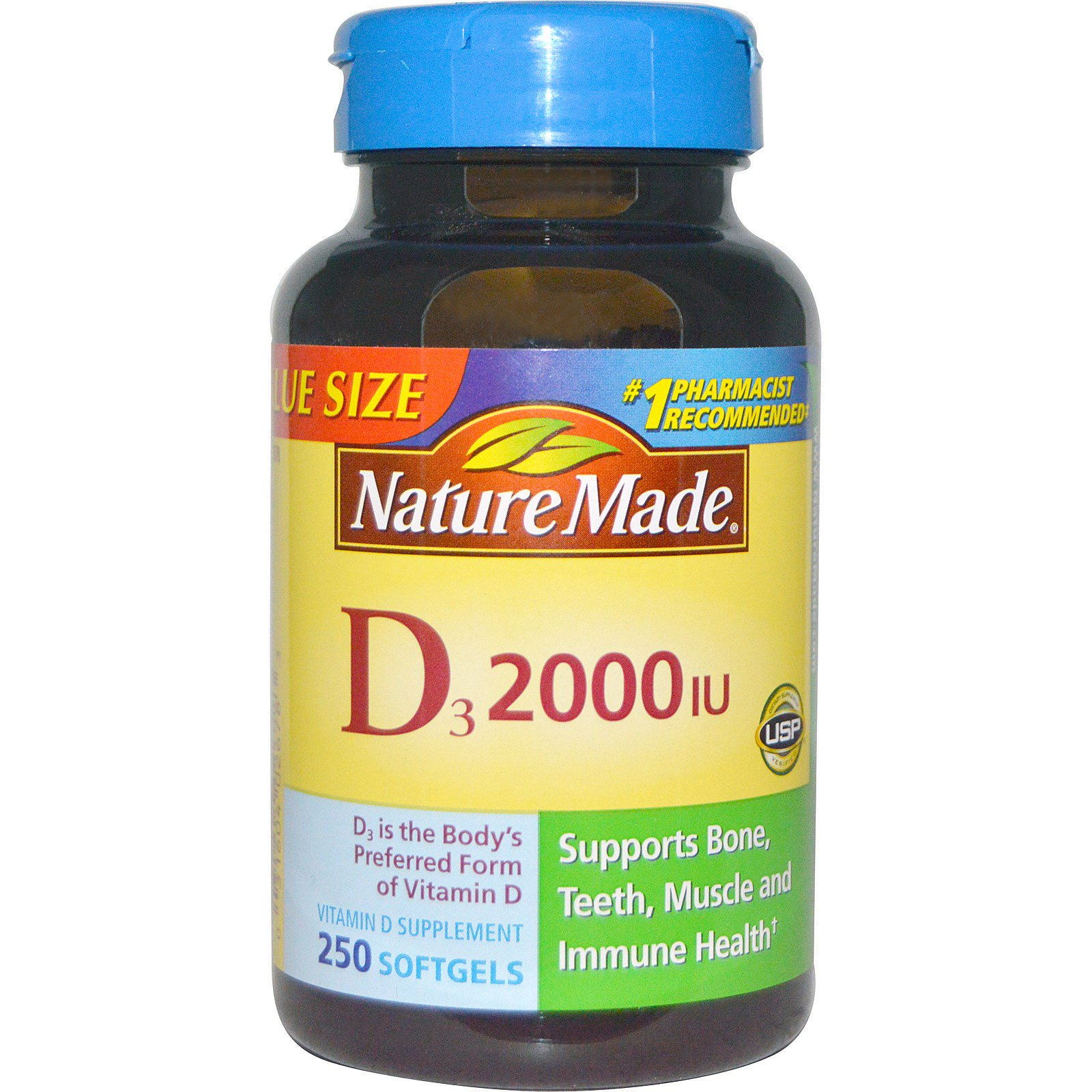 Nature Made, D3, 2000 МЕ, 250 мягких капсул