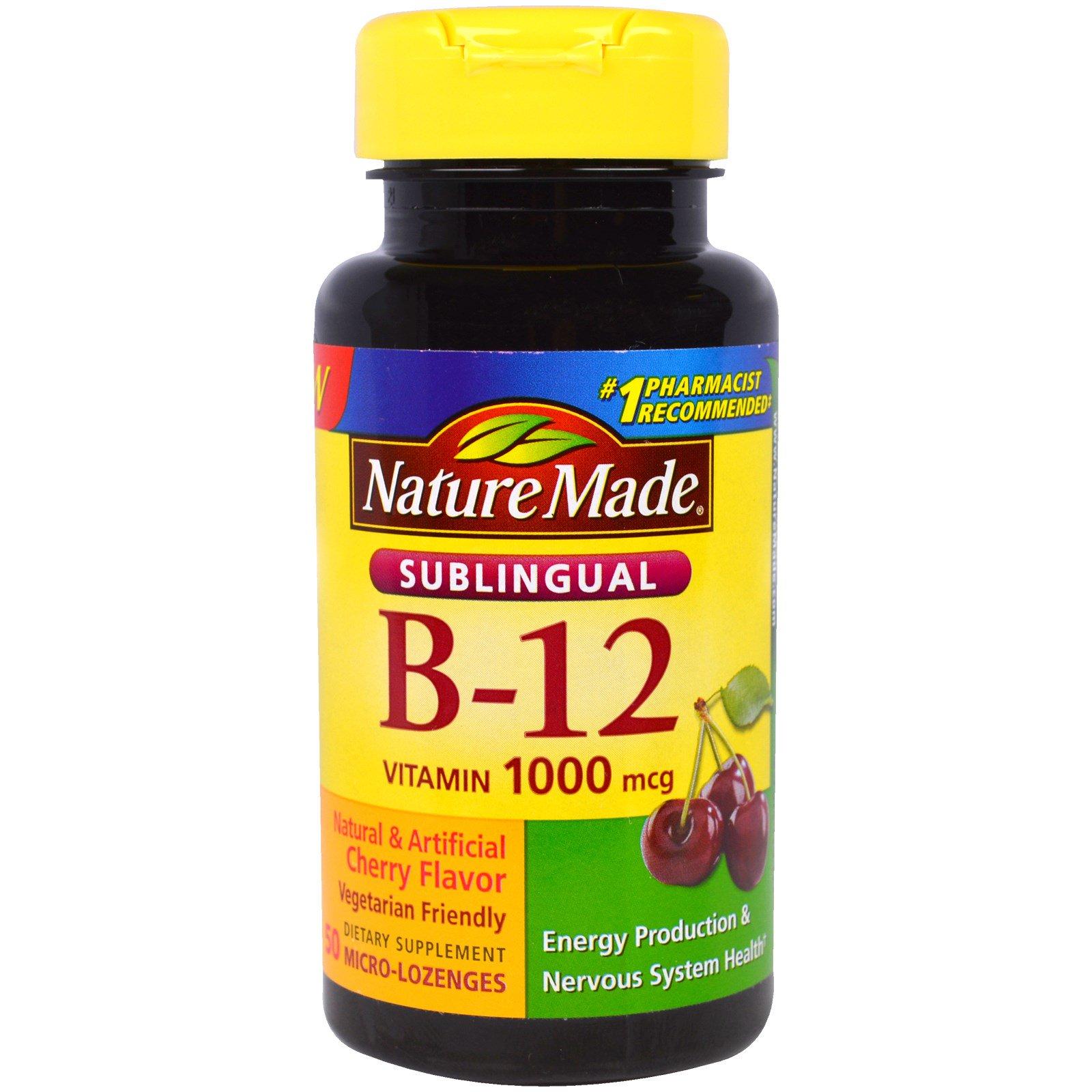 Nature Made, Витамин B-12 для рассасывания под языком, 1000 мкг, 50 маленьких леденцов