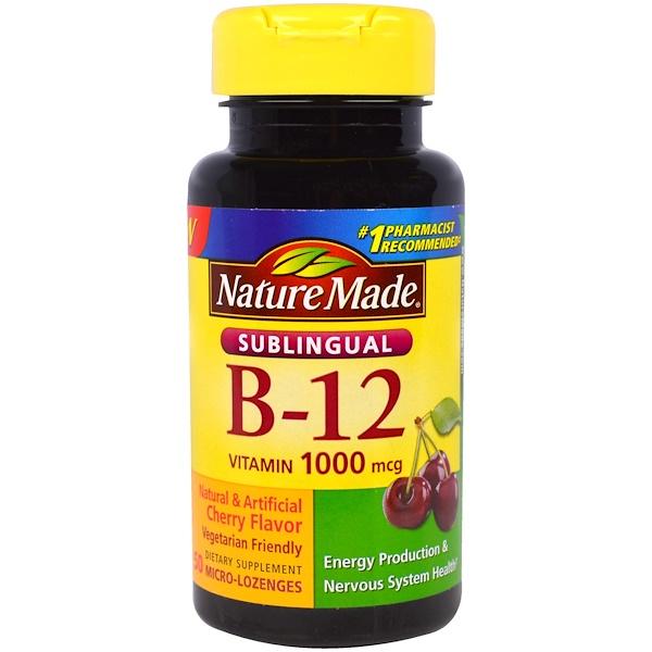 Nature Made, Sublingual B-12, 1000 mcg, 50 Micro - Lozenges