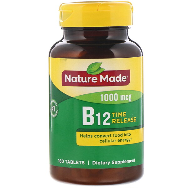 Nature Made, Vitamin B12, Time Release, 1,000 mcg, 160 Tablets