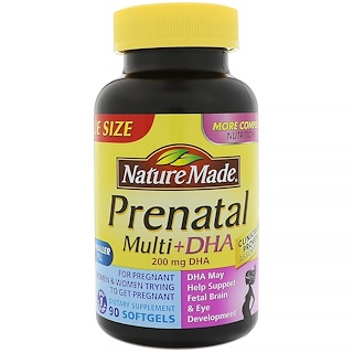 Nature Made, Prenatal Multi + DHA(ДГК), 90 капсул