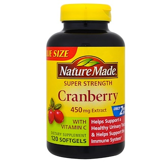 Nature Made, Oxicoco (airela) com Vitamina C, Super Potência, 450 mg, 120 cápsulas gelatinosas
