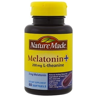 Nature Made, Melatonin + L-Theanine, 200 mg, 60 Softgels