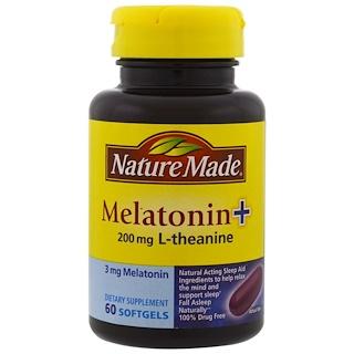 Nature Made, Мелатонин + L-теанин, 200 мг, 60 гелевых капсул с жидкостью внутри