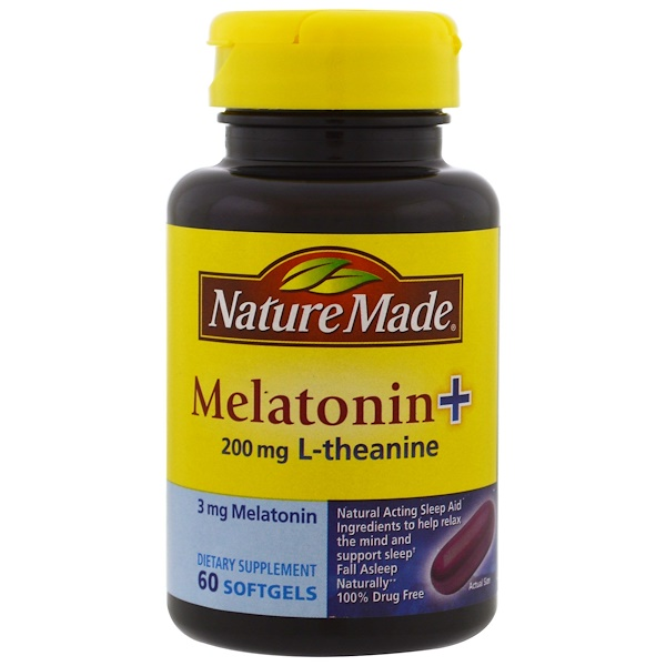 Nature Made, Melatonin + L-Theanine, 200 mg, 60 Softgels