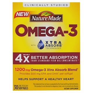 Nature Made, Omega-3, Extra Absorb, 1200 mg , 30 Softgels