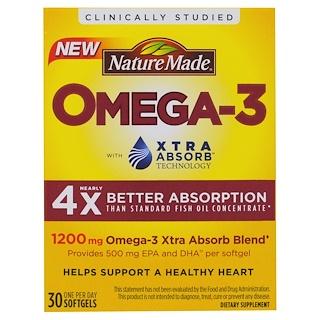 Nature Made, オメガ-3, エクストラアブソーブ、1200 mg、30ソフトジェル