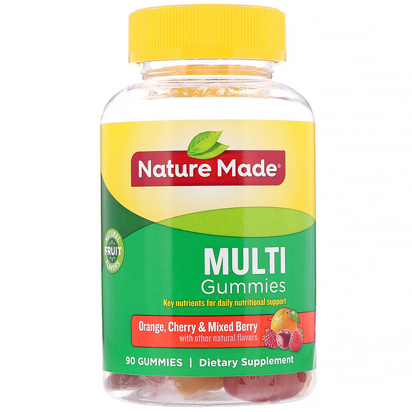 Nature Made, סוכריות גומי מולטי, בטעם תפוז, דובדבן ופירות יער, 90 סוכריות גומי