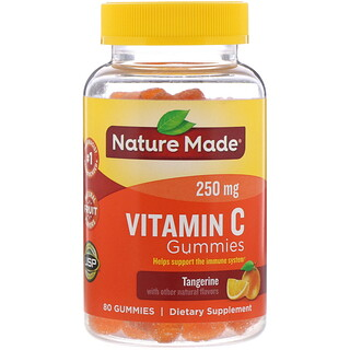Nature Made, жевательные таблетки с витаминомC, со вкусом мандарина, 250мг, 80шт.