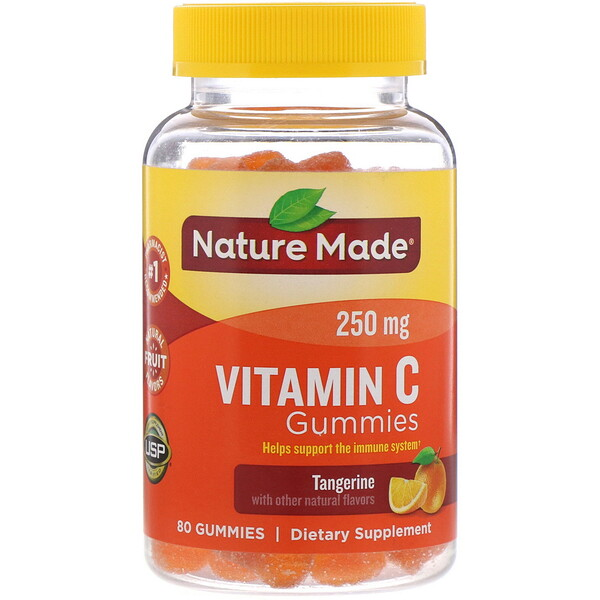 Vitamin C Gummies, Tangerine, 250 mg, 80 Gummies