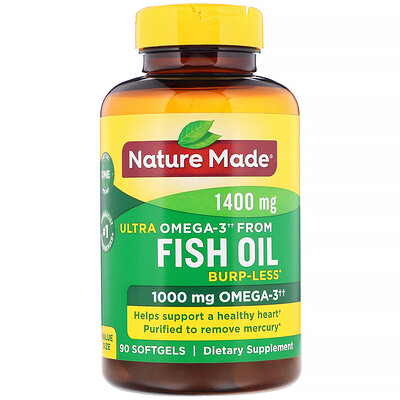 Nature Made Fish Oil, Ultra Omega-3, Burp-Less, 1,400 mg, 90 Softgels