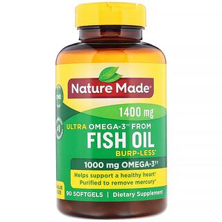 Nature Made, Fish Oil, Ultra Omega-3, Burp-Less, 1,400 mg, 90 Softgels