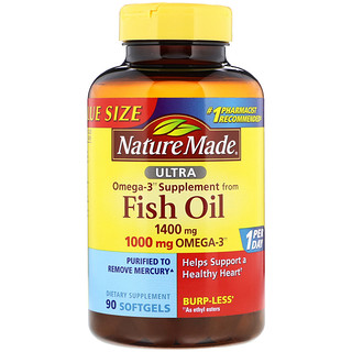 Nature Made, Ultra Omega-3, Fish Oil, 1400 mg , 90 Softgels