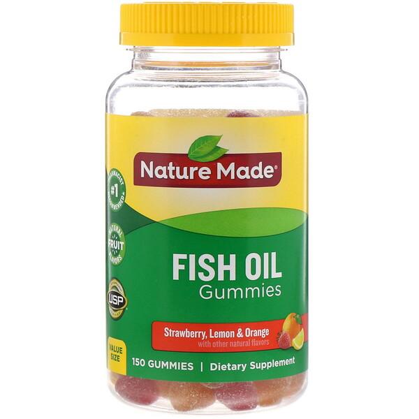 Nature Made, Fish Oil Gummies, Strawberry, Lemon & Orange, 150 Gummies