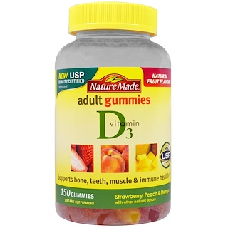 Nature Made, Adult Gummies, Vitamin D3, Strawberry, Peach & Mango, 150 Gummies