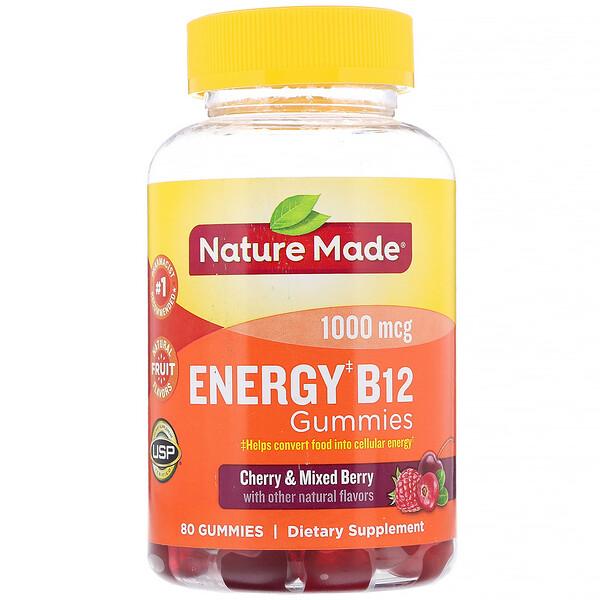 Nature Made, Energy B12 Gummies, Cherry & Mixed Berry, 1000 mcg, 80 Gummies