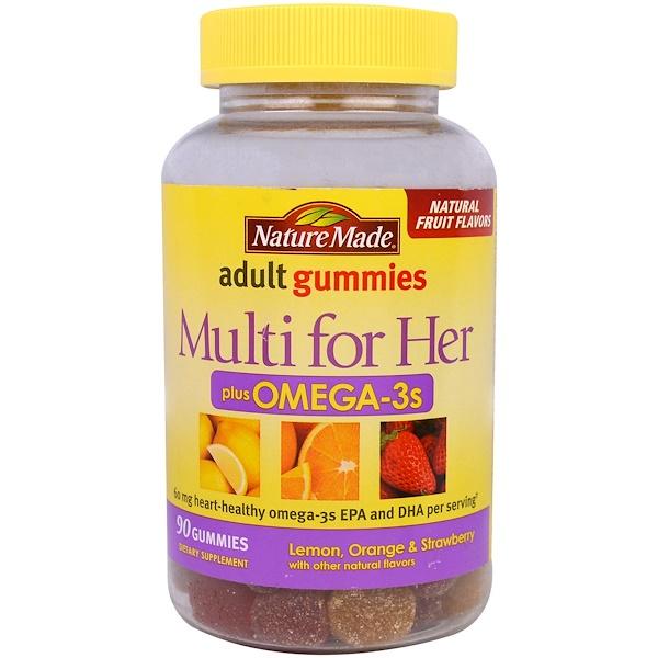 Nature Made, Adult Gummies, Multi For Her Plus Omega-3s, Lemon, Orange & Strawberry Flavors, 90 Gummies (Discontinued Item)