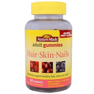 Nature Made, Adult Gummies, Hair, Skin and Nails, Mixed Berry, Cranberry & Blueberry, 90 Gummies