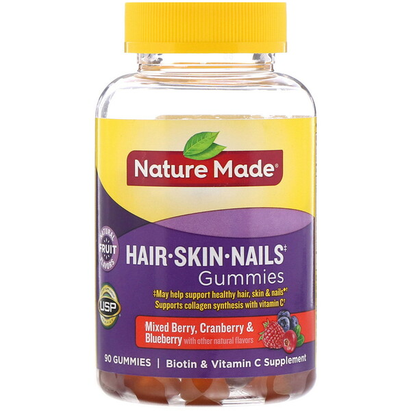 Nature Made, Hair, Skin, and Nails Gummies, Mixed Berry, Cranberry & Blueberry, 90 Gummies