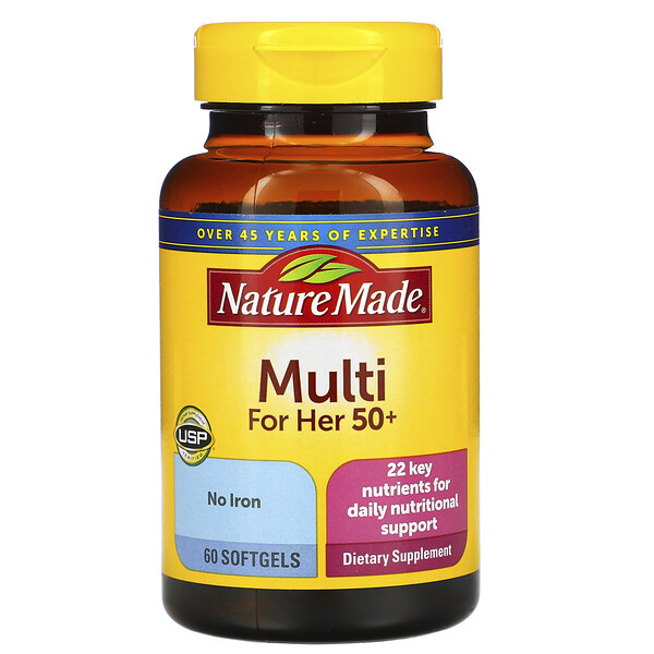 Nature Made, Multi para Ela 50+, 60 cápsulas