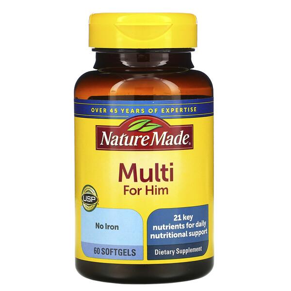 Nature Made, Multi For Him, 60 Cápsulas Gel Suave