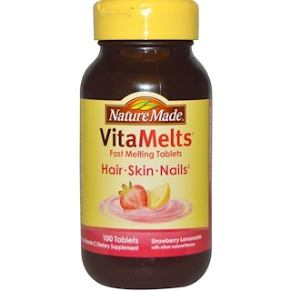 Nature Made, VitaMelts Hair, Skin and Nails, Strawberry Lemonade, 100 Tablets