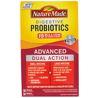 Nature Made, Digestive Probiotics, Advanced Dual Action, 60 Capsules