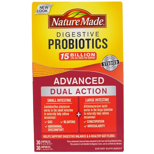 Nature Made, 助消化益生菌,高級雙重功效,60 粒膠囊