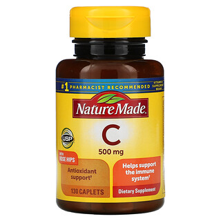 Nature Made, Vitamin C with Rose Hips, 500 mg, 130 Caplets