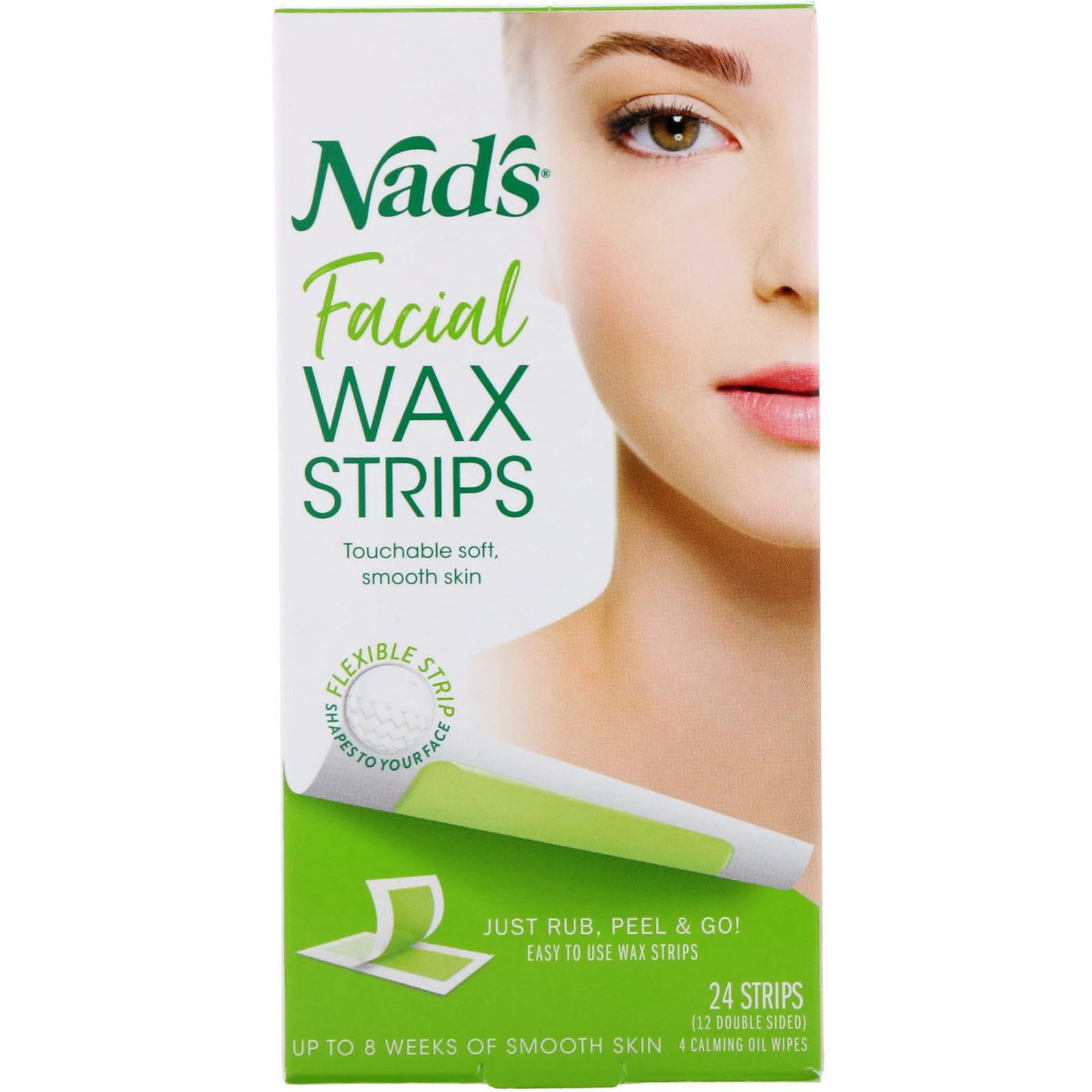 Nad's, Восковые полоски для кожи лица, 24 полоски