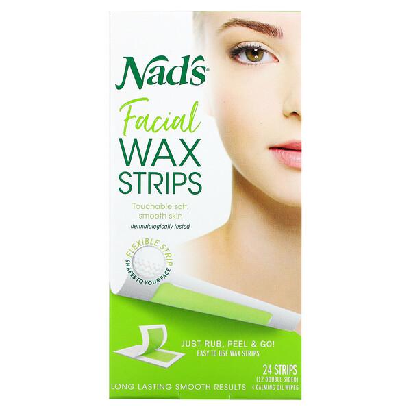 Nad's, Facial Wax Strips, 24 Strips