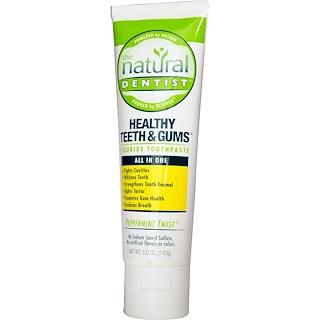 The Natural Dentist, Healthy Teeth & Gums, pasta dental fluorada, Peppermint Twist, 5,0 oz (142 g)