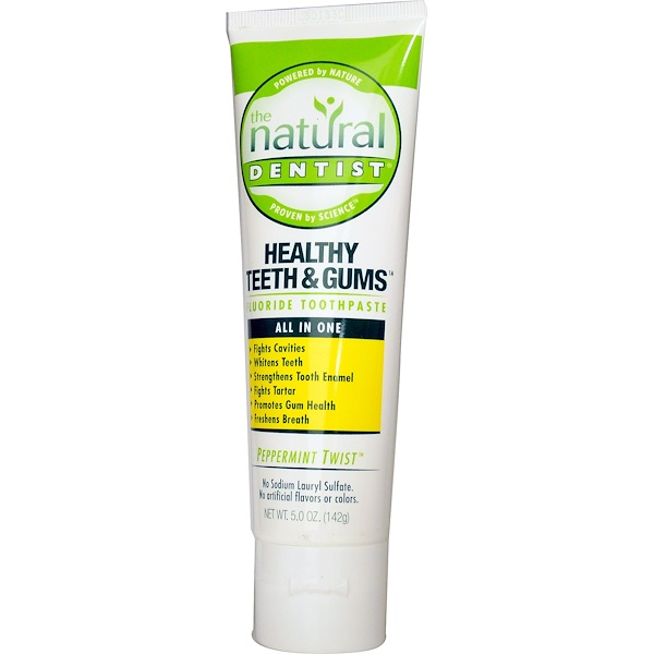 The Natural Dentist, Healthy Teeth & Gums, Fluoride Toothpaste, Peppermint Twist, 5.0 oz (142 g)